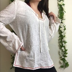Lucky Brand White Embroidered Blouse w/ Red Hem